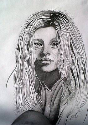 Drawing - Girl I by Paula Steffensen