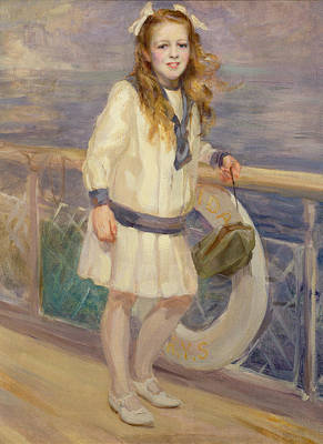 Railing Painting - Girl In A Sailor Suit by Charles Sims