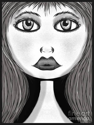 Digital Art - Girl In Black And White by J Kinion