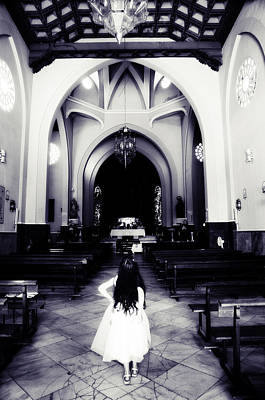 Girl In The Church Art Print by Jenny Rainbow