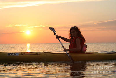 Swimsuit Photograph - Girl Kayaking At Sunset by Christopher Purcell
