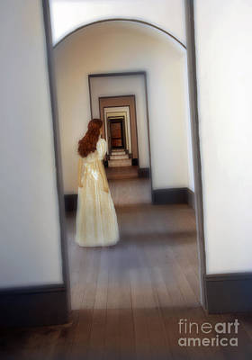 Anticipation Photograph - Girl Looking Down Hallway With Multiple Doorways by Jill Battaglia