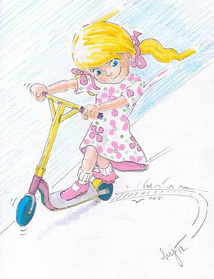 Pig Drawing - Girl On A Microscooter Cartoon by Mike Jory