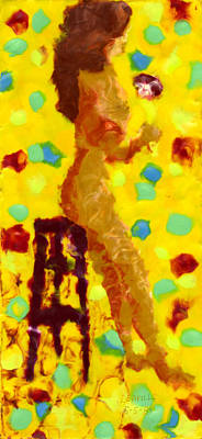Encaustic Painting - Girl On A Stool by Carl Deaville