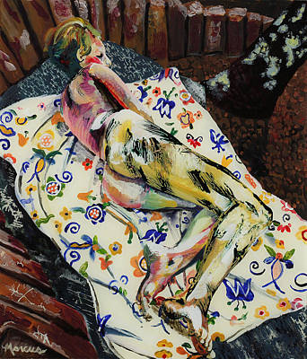 Girl On Blanket Art Print by Lucia Marcus