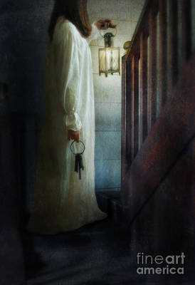 Girl On Stairs With Lantern And Keys Art Print by Jill Battaglia