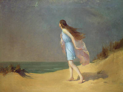 Girls Painting - Girl On The Beach  by Frank Richards