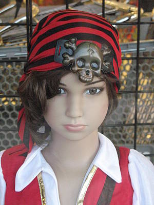 Photograph - Girl Pirate Mannequin Face Portrait by Kathy Fornal