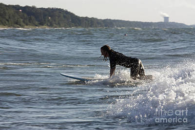 Surfing Photograph - Girl Playing In The Surf On Lake Michigan by Christopher Purcell