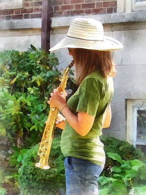 Girl Playing Saxophone Art Print by Susan Savad
