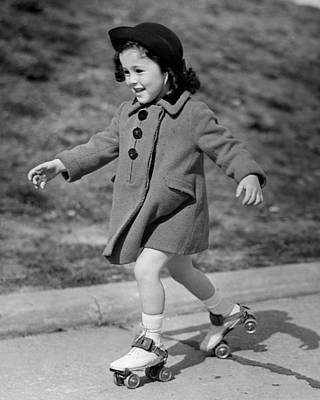 Girl Roller-skating Art Print by George Marks