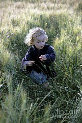 Close Focus Nature Scene Photograph - Girl Running In Wheat Field by Sami Sarkis