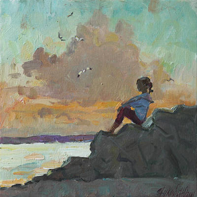 Painting - Girl Sea And Gulls by Juliya Zhukova
