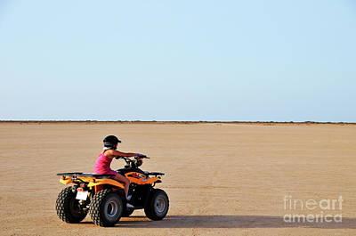 Girl Speeding On Atv In Desert Art Print by Sami Sarkis