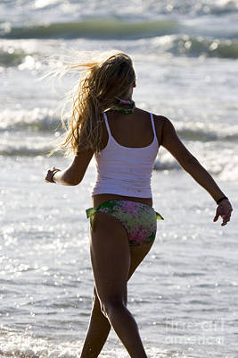 Swimsuit Photograph - Girl Walking On Beach by Christopher Purcell