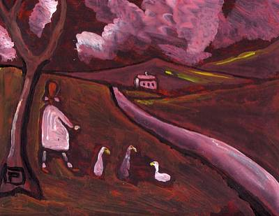 Girl Walking With Geese Art Print by Peter  McPartlin