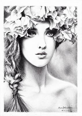 Drawing - Girl With A Floral Crown by Muna Abdurrahman