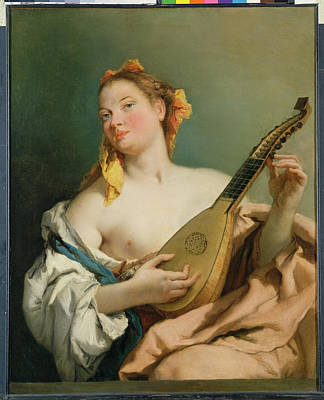 Lute Photograph - Girl With A Mandolin by Giovanni Battista Tiepolo