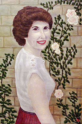 Roses Painting - Girl With Climbing Rose by Ronald Haber
