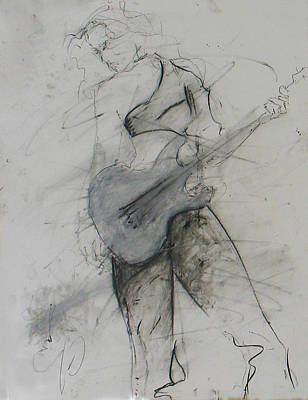 Painting - Girl With Guitar 1 by Elizabeth Parashis