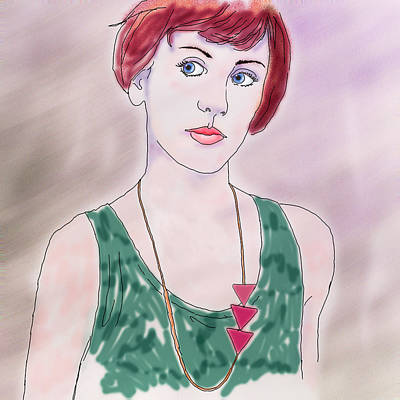 Art Print featuring the digital art Girl With Necklace by Ginny Schmidt