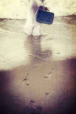 Girl With Suitcase Art Print