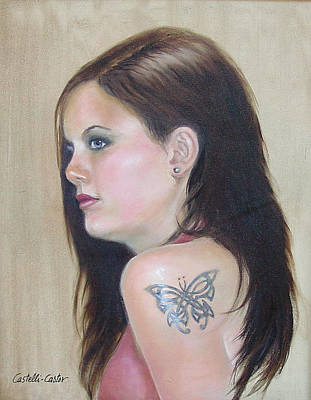 Painting - Girl With The Butterfly Tattoo by JoAnne Castelli-Castor