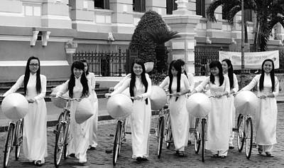 Art Print featuring the photograph Girls-bicycle by Arik S Mintorogo