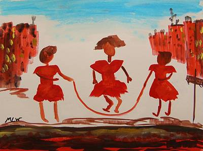 Girls In Red Dresses Jump Rope Original by Mary Carol Williams