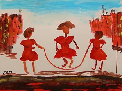Girls In Red Dresses Jump Rope Original