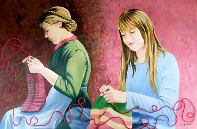 Painting - Girls Knitting by Anne Gardner