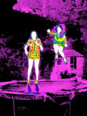 Thermographic Photograph - Girls Trampolining, Thermogram by Tony Mcconnell