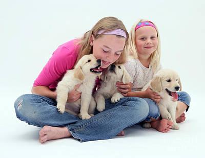 Girls With Puppies Art Print by Jane Burton