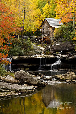 Glade Creek Grist Mill Art Print by Carrie Cranwill