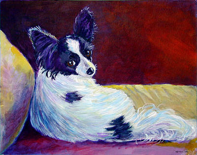 Nature Oil Painting - Glamor - Papillon Dog by Lyn Cook
