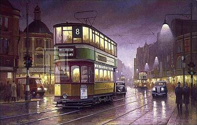 Tram Painting - Glasgow Evening. by Mike Jeffries