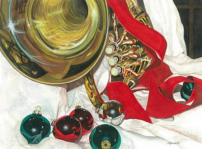 Painting - Glass Brass And Red Ribbon by Barbara Jewell