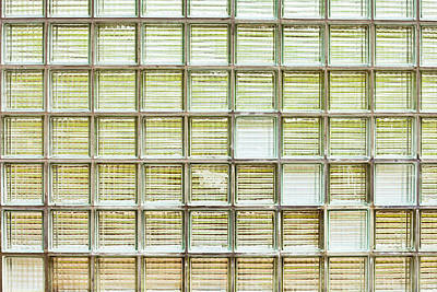 Color Block Photograph - Glass Brick Wall by Tom Gowanlock