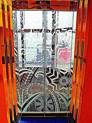 Etched Glass Photograph - Glass Elevator Doors by Randall Weidner