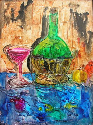 Glass Of Wine Art Print by Mary Kay Holladay