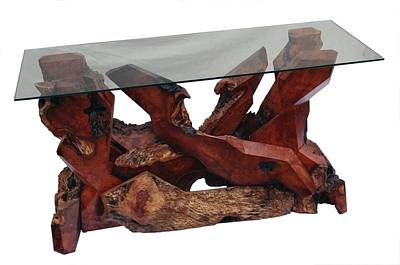 Sculpture - Glass Top Redwood Console Table Ds-19811 by Daryl Stokes