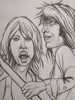 Rolling Stone Drawing - Glimmer Twins by Pete Maier