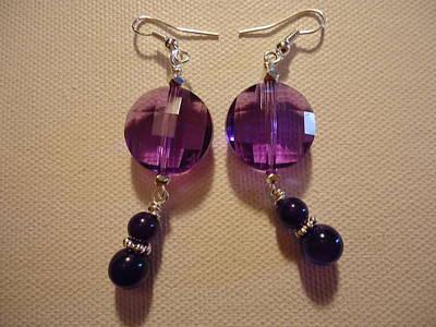 Glitter Me Purple Earrings Art Print by Jenna Green