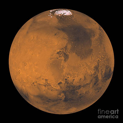 Tharsis Photograph - Global Color View Of Mars by Stocktrek Images
