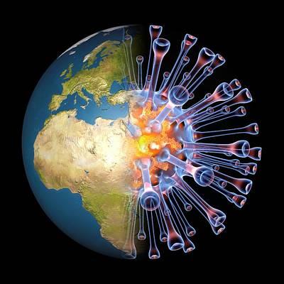 Global Flu Pandemic, Artwork Art Print by Pasieka