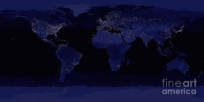 Photograph - Global View Of Earths City Lights by Stocktrek Images