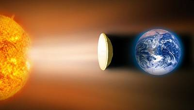 Global Warming Sun Shield, Artwork Art Print by Victor De Schwanberg