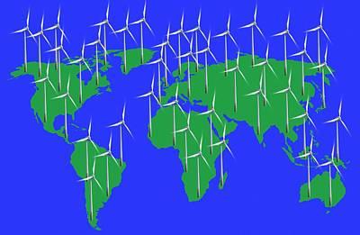 Global Wind Power, Conceptual Image Art Print