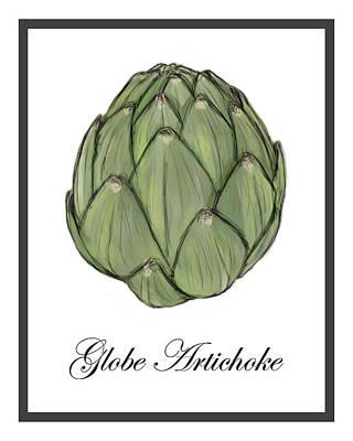 Artichoke Digital Art - Globe Artichoke Watercolor Sketch by Sarah Countiss