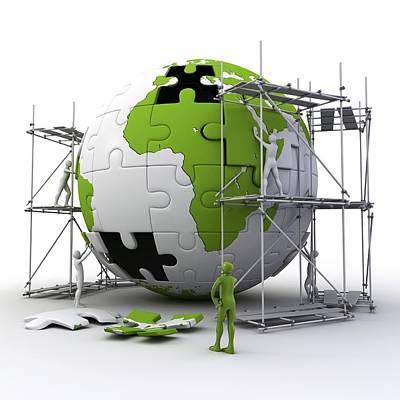 Globe Construction Art Print